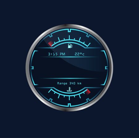 Isolated neon dashboard speedometer. Realistic sensor panel with arrows. Vector scale of level gasoline. Chrome neon board. Measuring speed illustration. Vector Illustratie