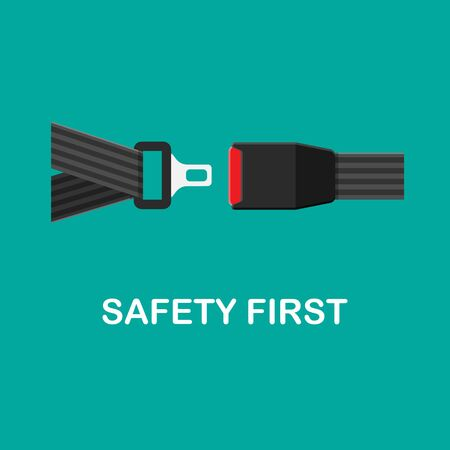 Vector seat belt icon isolated on green background. Click it concept. Safety equipment for car and plane. Stock Illustratie