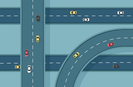 Top view road with different cars. Autobahn and highway junction. City infrastructure with transportation elements .Vector illustration in a flat modern style.