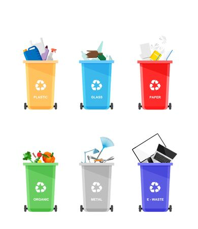 Assorted trash in color urns isolated on white background. Vector recycle concept. Bins for recycling with sorted garbage.
