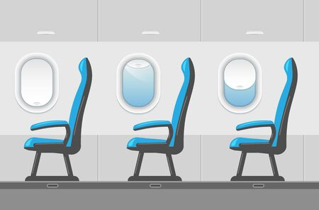 Vector airplane interior illustration in a trendy style. Aircraft passenger blue seat near window or ailsle. Plane cabin with portholes. Business Class template. 向量圖像