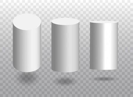 Set of white vector 3d cylinders. Cylinder icons in a perspective. Geometric blocks with shadow. Vector illustration isolated on transparent background.