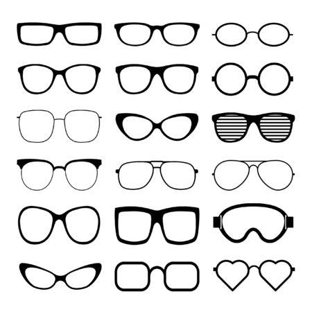 Sonnenbrille Icon Set Vektor Vorlage. Transparente Sonnenbrille, Herren- und Damenbrillensilhouette. Vektor-Illustration.