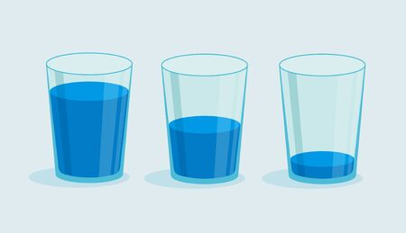 Vector glass of water. Full and empty glass. Drink more water concept.