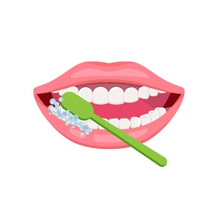 Teeth cleaning and oral hygiene concept. Open mouth with green toothbrush. Vector icon about dental care, how to brush teeth. Stockfoto - 144711343