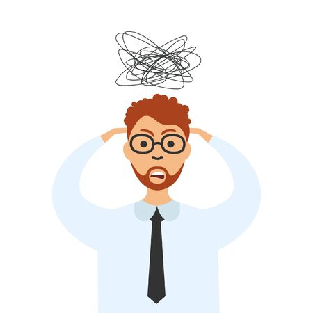 Stress at work. Vector stressed businessman with a headache. Tired man holds head having migraine. Worried man.