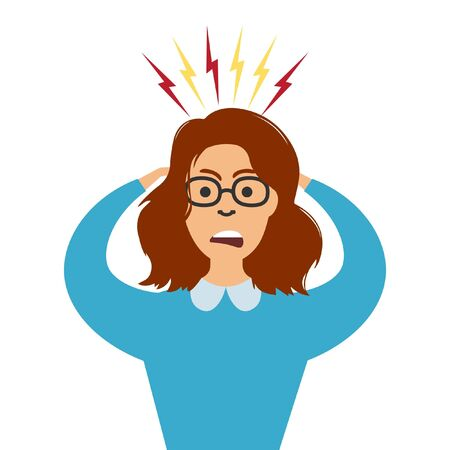 Stress at work. Vector stressed business woman with a headache. Tired girl holds head having migraine. Worried woman.