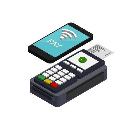 Isometric nfc mobile payment. Vector pos terminal confirms the payment by smartphone. Nfc payments concept. Pay pass. Vettoriali