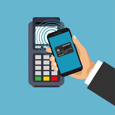 Vector pos terminal confirms the payment by smartphone. Nfc payments concept. Mobile and contactless payment. Pay pass concept.