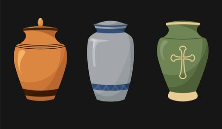 Set of flat design icons of urns for ashes. Cremation and funeral urn with dust. Burial and dead man. Isolated. Vector illustration. Vecteurs