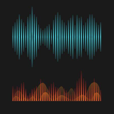 Set of colorful vector digital music equalizer. Audio waves design template. Vector illustration Vektorgrafik