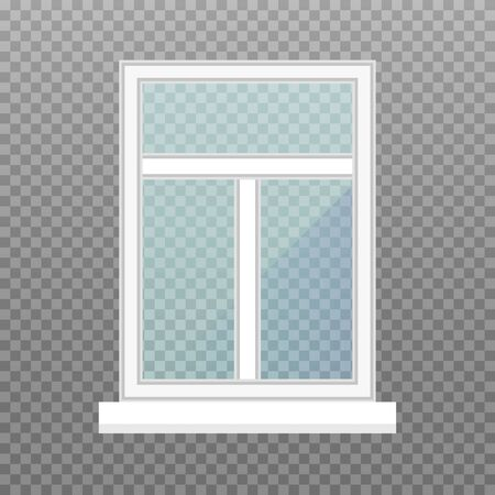 isolated window frame. Frontstore window with blue glasses. Exterior building facade element on transparent background. Vector illustration.