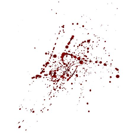 Realistic bloody splatters. Drop and blob of blood. Bloodstains Isolated. Vector illustration isolated on white background. Red puddles.