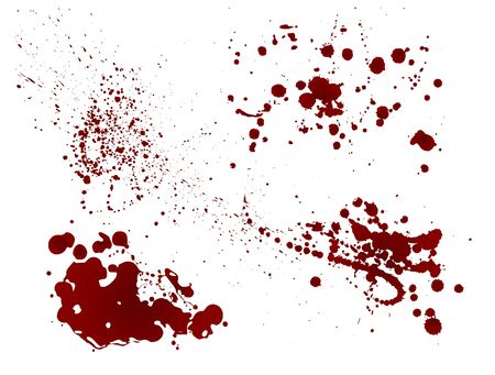 Set of realistic bloody splatters. Drop and blob of blood. Bloodstains Isolated. Vector illustration isolated on white background. Red puddles. Ilustración de vector