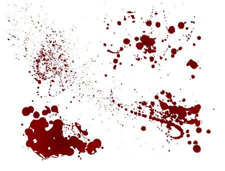 Ensemble d'éclaboussures sanglantes réalistes. Goutte et goutte de sang. Taches de sang isolées. Illustration vectorielle isolée sur fond blanc. Flaques rouges. Vecteurs