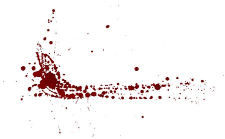 Realistic bloody splatters. Drop and blob of blood. Bloodstains Isolated. Vector illustration isolated on white background. Red puddles. Ilustración de vector