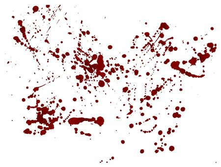 Set of realistic bloody splatters. Drop and blob of blood. Bloodstains Isolated. Vector illustration isolated on white background. Red puddles.