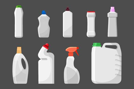 Set of detergent blank bottles or containers, cleaning supplies, washing powder icon. Vector illustration isolated on gray background.