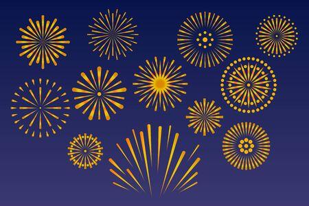Vector gold fireworks isolated on dark background. Independence anniversary festival firework celebration. Celebration design for holidays.