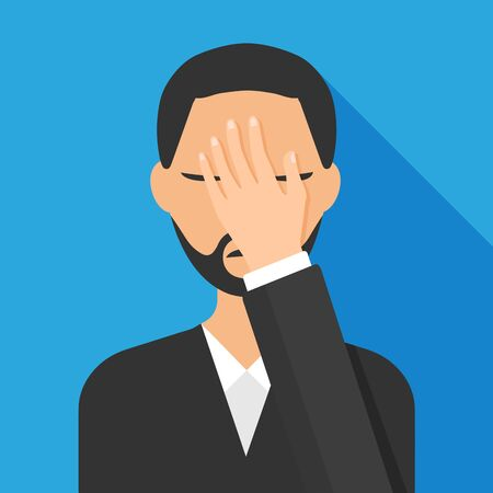 Flat style of man with a gestures facepalm expression. Man with hand flopping her forehead. Headache, disappointment or shame. Epic fail emotion. Isolated vector illustration. Illustration