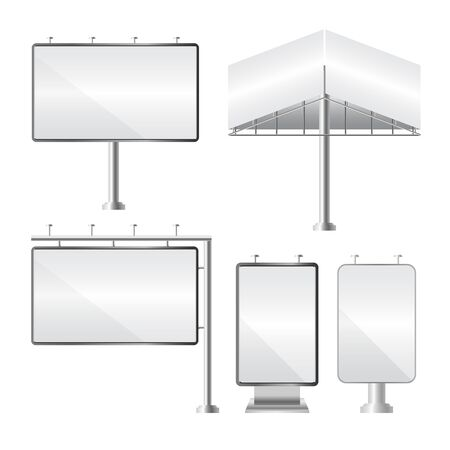 Set of blank billboards. Mockup and template for your advertisement and design. Realistic set of different perspectives advertising construction. Outdoor big board. Vector illustration.