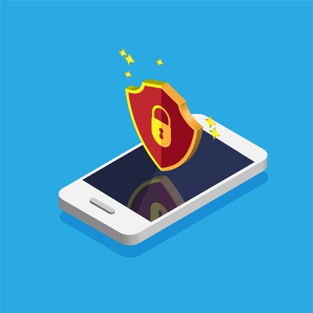 File protection. Data security and privacy concept on a phone display. Safe confidential information. Smartphone with red shield on a screen. Vector illustration.