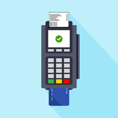 Flat design of POS terminal usage concept. Payment by card concept. Vector illustration. Isolated.