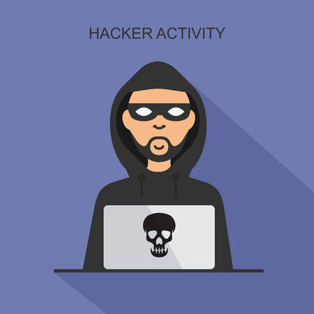 Hacker activity and cyber crime concept. Vector thief in black mask steals information from laptop. Hacker sitting at the desktop and hacking user login. Çizim