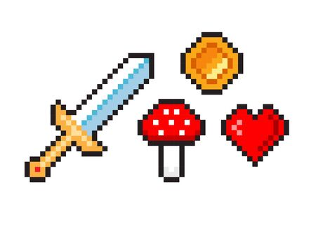 Set of pixel video game objects. Icons for 16-bit game. Pixel sword, mushroom, heart, coin, amanita. Vector illustration in retro game style isolated on white background.