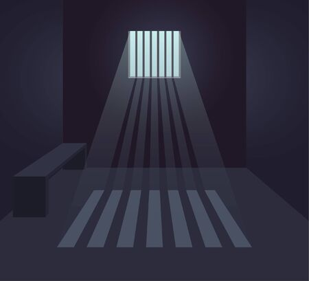 Dark prison cell interior. Prison room. Small window with sunbeams. Flat vector illustration. 일러스트