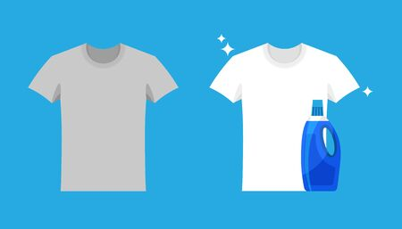Advertising of washing powder and detergent. Clothes before and after wash. Flat blank and dirty gray t-shirt. Mock up of white shirts isolated on blue background. Иллюстрация