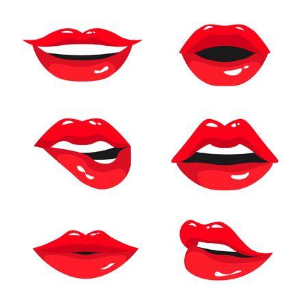 Collection de lèvres féminines rouges. Ensemble de lèvres de femme exprimant différentes émotions : sourire, baiser, bouche entrouverte et lèvre mordante. Illustration vectorielle isolée sur fond blanc. Vecteurs