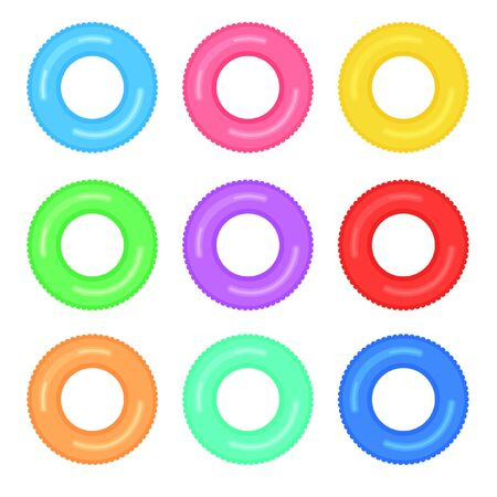 Set of colorful rubber swimming rings. Life saving floating lifebuoy for beach or ship. Water and beach monochromatic rubber toys.