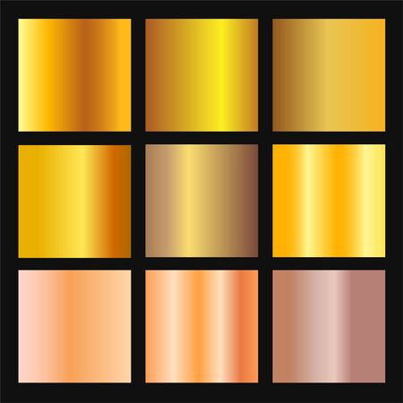 Vector set of gold and bronze gradient background. Golden and metallic gradient collection for border, frame, ribbon, label design. Color swatch. Gold foil texture gradation. Иллюстрация