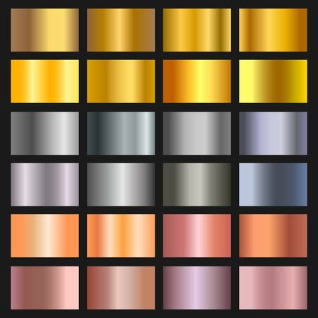 Vector set of gold, bronze and silver gradient background. Golden and metallic gradient collection for border, frame, ribbon, label design. Color swatch. Gold foil texture gradation.