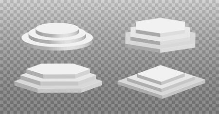 Vector round and square 3d empty podium with steps. Three-stepped winner pedestals. Stage for awards ceremony isolated on transparent background.
