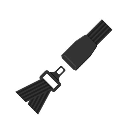 Vector seat belt icon isolated on white background. Click it concept. Safety equipment for car and plane 向量圖像