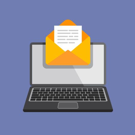 Flat design of laptop with envelope and document on screen. Getting or send new letter. Email, email marketing, internet advertising concepts in trendy style. Vector illustration.