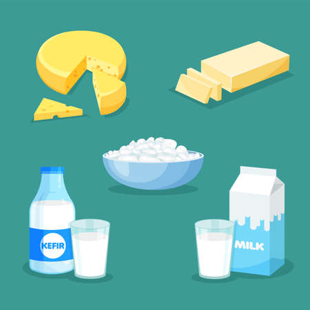 Set of fresh natural dairy products. Vector milk, butter, cheese, kefir, cottage cheese icons in a trendy flat style. Farm produce isolated on blue background. Vettoriali
