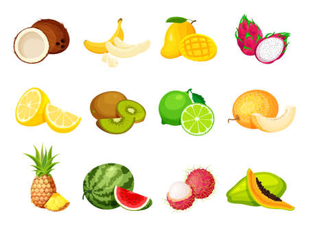 Collection of exotic tropical fruits in a trendy cartoon style. Vegan food vector icons isolated on white background. Fresh whole, half, cut slice and piece of fruit. Vektorové ilustrace