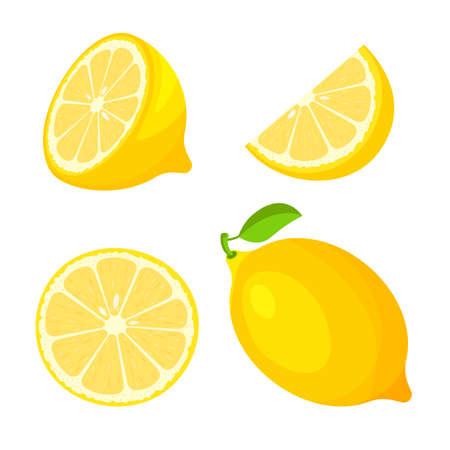 Set of fresh whole, half, cut slice of lemon isolated on white background. Citrus fruit and leaves. Vegan food vector icons in a trendy cartoon style. Healthy food concept. Ilustração Vetorial