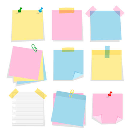 Post note stickers template isolated on white background. Set of cartoon color bookmarks. Paper adhesive tape with paper clips and push pins. Vecteurs