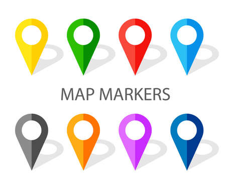 Set of colorful navigation pinpoints with shadow. Flat map pointer. Location on a global map. illustration isolated on white background