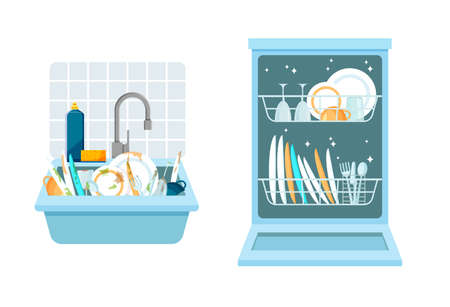 Sink with a bunch of dirty dishes and open dishwasher with clean dishes. Different kitchen household utensils before and after washing. Vector illustration in a trendy flat style. Vektoros illusztráció