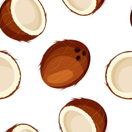 Seamless pattern of open and closed coconut on white background. Whole and half nut icon. Food concept for template label, packing and emblem farmer market design. Vector illustration in a flat style.
