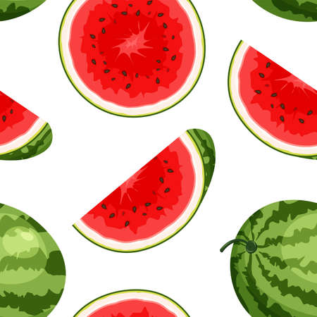 Seamless vector pattern with whole, cut slice of watermelon. Vegan food vector icons in a trendy cartoon style. Healthy food design concept for web page backgrounds, packaging.