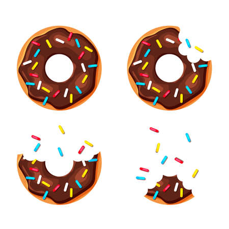Cartoon colorful donuts set isolated on white background. Bitten and almost eaten donut. Top view sweet sugar doughnuts. Vector illustration in a trendy flat style. Illustration