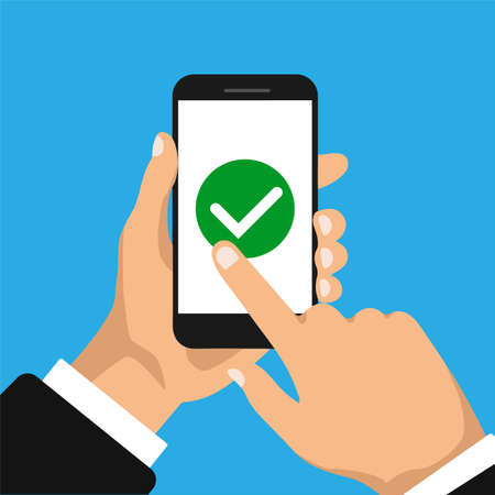 Hand holds smartphone and finger touch screen. Check box on a smartphone screen. To do list concept. Businessman accept button and click on it.