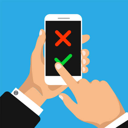 Check list on a smartphone screen. To do list concept. Hand holds smartphone and finger touch screen. Vector illustration.