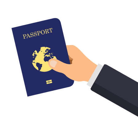 Hand holds international passport. Vector international blue cover of passport template. Identification document for travel, isolated on white background. Ilustración de vector